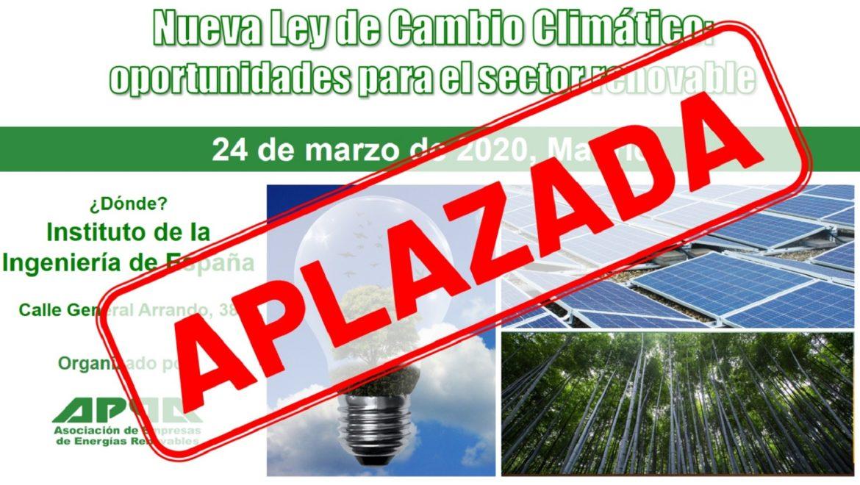APPA Renovables aplaza la jornada sobre la Nueva Ley de Cambio Climático del 24 de marzo