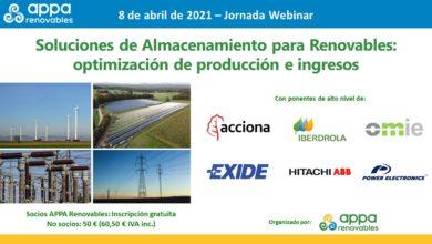 Jornada APPA Renovables – Soluciones de Almacenamiento para Renovables: optimización de producción e ingresos
